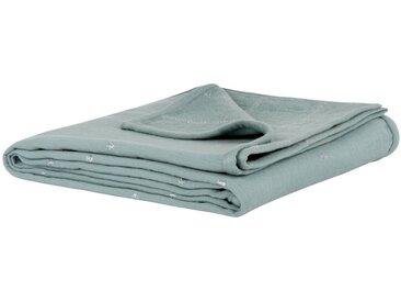 Decke aus Baumwolle, blau-grau 130x180