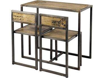 Hochtisch + 2 Stühle aus Mangoholz und Metall, B90 Manufacture