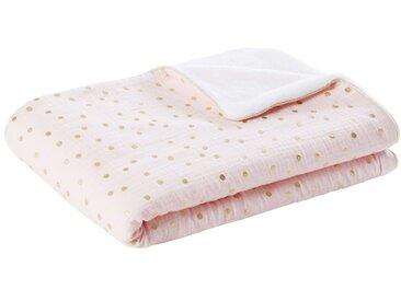 Babydecke aus Baumwolle, rosa und weiß mit goldenen Pünktchen 75x100