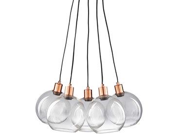 Hängeleuchte mit 5 Glaskugelschirmen und verkupfertem Metall