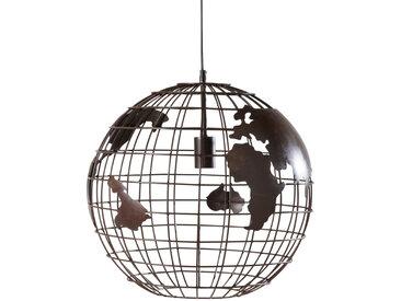 Hängelampe Weltkarte aus schwarzem Metall