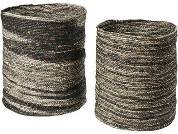 2 Körbe aus geflochtenen Maisfasern in den Farben Ecru und Schwarz