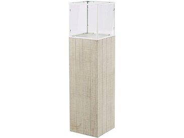 Windlicht aus weiß pigmentiertem Tannenholz und weißem Metall