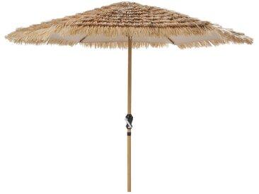 Sonnenschirm aus Metall mit Holz-Imitation mit Fransen, naturfarben Paillotte