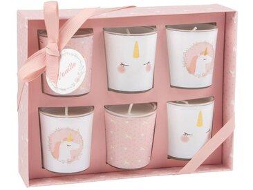 6 Kerzen-Windlichter im Glas, rosa und weiß, bedruckt
