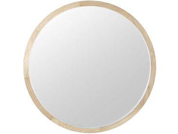 Runder Spiegel mit weißem Eichenholzrahmen D.100