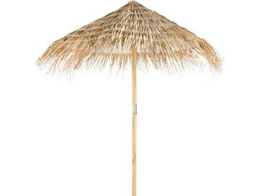 Sonnenschirm aus Tanne und geflochtener Pflanzenfaser