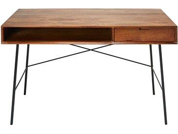 Schreibtisch mit 1 Schublade aus massivem Mangoholz und schwarzem Metall Arty