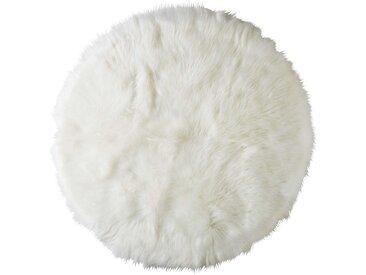 Runder Teppich aus weißem Kunstfell D140 FURIL