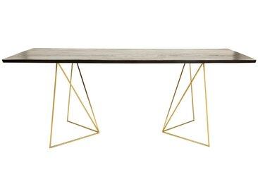 Esstisch für 4-6 Personen aus schwarzem Akazienholz und goldfarbenem Metall, L197 Jagger