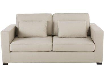 Ausziehbares 2-/3-Sitzer-Sofa aus Baumwolle, graubeige, Matratze 12 cm Milano