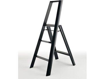 Sicherheitstrittleiter Lucano Thomas Merlo schwarz, Designer Chiaki Murata, 133x53x15.5 / 76 cm