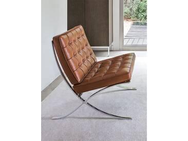 Sessel Barcelona Knoll International braun, Designer Ludwig Mies van der Rohe, 77x75x77 cm