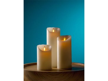 LED Echtwachskerze Flame sompex beige, 18 cm