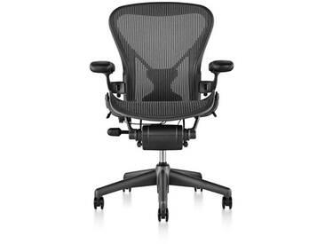 Bürodrehstuhl Aeron - Graphit Herman Miller schwarz, Designer Bill Stumpf und Don Chadwick, 104x65x40 cm