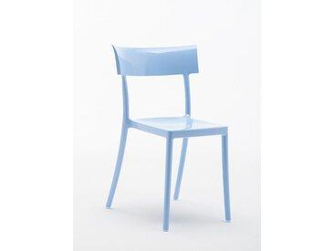 Kartell Stapelstuhl Catwalk blau, Designer Philippe Starck, 81x53x54.5 cm