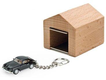 Schlüsselanhänger Porsche 356 A Coupé mit Garage Corpus delicti schwarz, Designer André Rumann, 4.4x4.6x5 cm