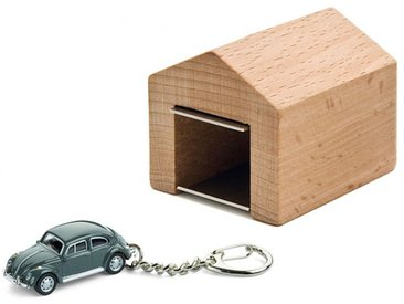 Schlüsselanhänger VW-Käfer mit Garage Corpus delicti grau, Designer André Rumann, 4.4x4.6x5 cm