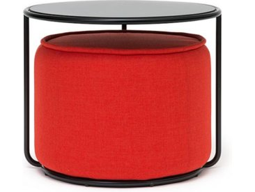Softline Beistell-Tisch mit Hocker Tom schwarz, Designer Sascha Sartory, 47/37 cm