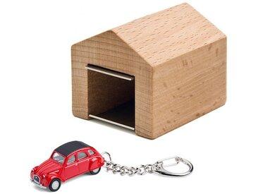 Schlüsselanhänger Citroën 2CV mit Garage Corpus delicti rot, Designer André Rumann, 4.4x4.6x5 cm