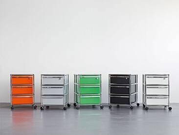 USM Rollcontainer mit 3 Schüben grün, Designer Prof. Fritz Haller, 61x42x53 cm