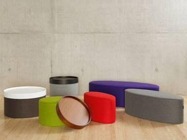 Softline Hocker Bon-Bon Grau, Designer Busk & Hertzog, 33x100x40 cm
