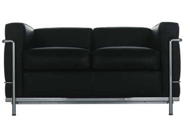 Cassina Cassina LC2 2-Sitzer grau, Designer Le Corbusier, 67x130x70 cm