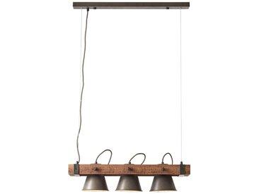 Rustikale Pendelleuchte, 3x E27 max. 10 Watt, aus Metall / Holz in schwarz / braun Metall / Holz, schwarz stahl / holz