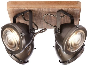 Spotplatte, 4-flammig, 4x GU10 max. 5W, Metall / Holz, burned steel / holz