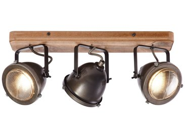 Spotbalken, 3-flammig, 3x GU10 max. 5W, Metall / Holz, burned steel / holz