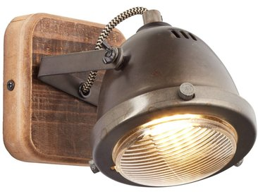 Wandspot, 1x GU10 max. 5W, Metall / Holz, burned steel / holz