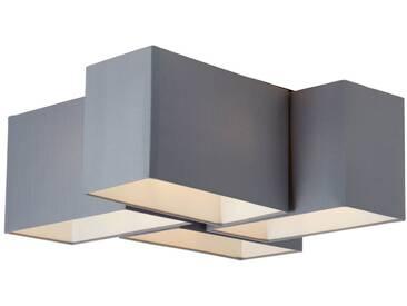 Deckenleuchte, 4-flammig, 4x E14 max. 60W, Metall / Textil, grau / schwarz