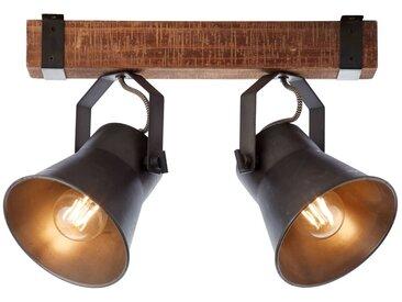 Rustikale Deckenleuchte, 2-flammig in schwarz braun, E27 max. 10 Watt, Metall / Holz, schwarz stahl