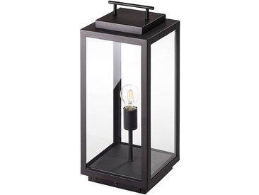 Außenlaterne/Außenleuchte, in schwarz 55 x 25 cm, Metall / Glas, max. 60 Watt