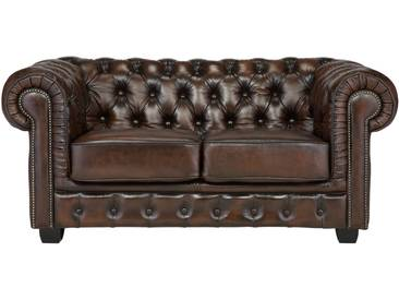 massivum Chesterfield Sofa 2-Sitzer antikfinish braun