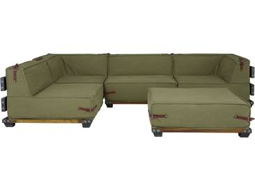 massivum Ecksofa Fairview mit Hocker gruen