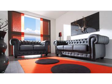 massivum Chesterfield Sofagarnitur schwarz
