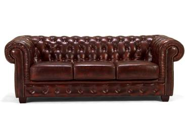massivum Chesterfield Sofa 3-Sitzer rot