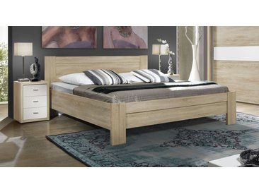 Kubisches Bett 160x200 cm ohne Schubkästen in Eiche Dekor - Oakville - Designerbett
