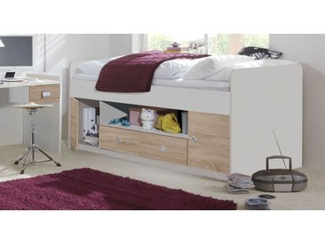 Weißes Kojenbett mit Stauraum in Schubladen und Fächern - Prea - Jugendbett