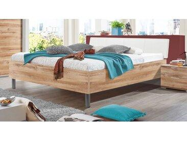 Bett 140x200 cm in Plankeneiche Dekor mit weißem Kopfteil - Loano - Designerbett