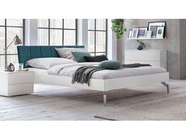 Stabiles Bett 120x200 cm in Weiß mit Samt-Kopfteil - Akuma - Designerbett