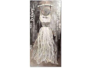 Wandbild 70x150 cm mit handgefertigtem 3D-Motiv - Dress hellgrau - BETTEN.de