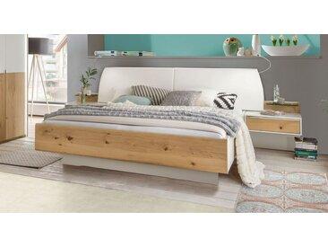 Bett schwebend 200x220 cm in Alpinweiß & Balkeneiche-Furnier - Briston - Designerbett