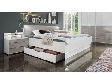 Bett in Weiß mit Kunstleder mit Schubkästen 200x200 cm - Shanvalley - Designerbett