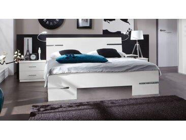 Weißes Futonbett mit verchromten Zierleisten 140x200 cm - Manati - Designerbett