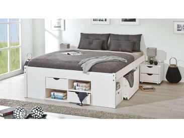 Funktionsbett - 140x200 cm Kiefer weiß - Bett mit Bettkasten Göteborg - Stauraum-Bett