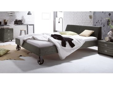 Holzbett Tornio - 140x200 cm - Akazie weiß - ohne Metall-Beschläge - Massivholzbett