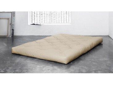 Feste Futonmatratze 8 Lagen Baumwolle 90x200 cm creme - Traditionell - Matratze