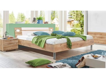 Bett 140x200 cm Plankeneiche Dekor inklusive Beleuchtung - Bakio - Designerbett